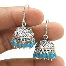 Natural TOPAZ Gemstone HANDMADE Jewelry 925 Sterling Silver Jhumki Earring AE8