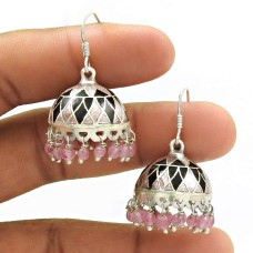 HANDMADE 925 Sterling Silver Jewelry Natural ROSE QUARTZ ENAMEL Jhumki Earring AQ8