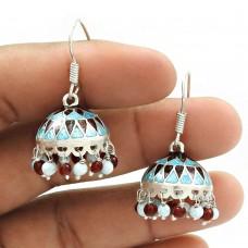 HANDMADE 925 Silver Jewelry Natural GRANET TURQUOISE ENAMEL Jhumki Earring AX8