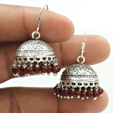 Natural GRANET Gemstone Jhumki Earring 925 Silver HANDMADE Fine Jewelry AE6