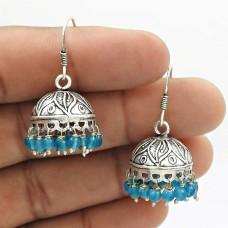 Natural TOPAZ Gemstone Jhumki Earring 925 Silver HANDMADE Fine Jewelry AD20