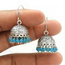 Natural TOPAZ Gemstone Jhumki Earring 925 Sterling Silver HANDMADE Jewelry AB19