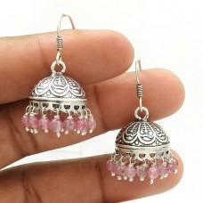 HANDMADE 925 Silver Jewelry Natural ROSE QUARTZ Gemstone Jhumki Earring AC19