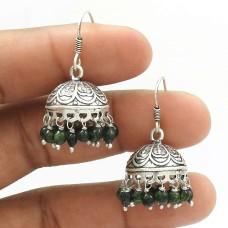 Natural GREEN ZADE Gemstone Jhumki Earring 925 Silver HANDMADE Fine Jewelry AG20