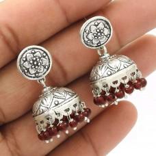 Natural GRANET Gemstone Jhumki Earring 925 Sterling Silver HANDMADE Jewelry AN19