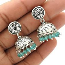 Natural TOPAZ Gemstone Jhumki Earring 925 Sterling Silver HANDMADE Jewelry AV15