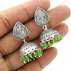 Natural GREEN ZADE Gemstone Jhumki Earring 925 Silver HANDMADE Fine Jewelry AP17