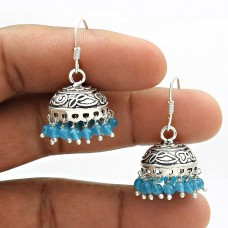 Natural TOPAZ Gemstone HANDMADE Jewelry 925 Sterling Silver Jhumki Earring AR17
