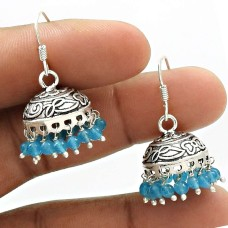 HANDMADE 925 Sterling Silver Jewelry Natural TOPAZ Gemstone Jhumki Earring AR19