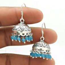 Natural TOPAZ Gemstone Jhumki Earring 925 Sterling Silver HANDMADE Jewelry AR20