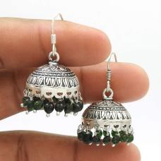 Natural GREEN ZADE Gemstone HANDMADE Jewelry 925 Sterling Silver Jhumki Earring AQ10