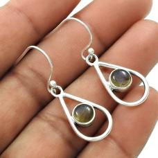 Natural LABRADORITE Gemstone Earring 925 Sterling Silver HANDMADE Jewelry AK17