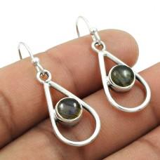 Natural LABRADORITE Gemstone HANDMADE Jewelry 925 Sterling Silver Earring AD20