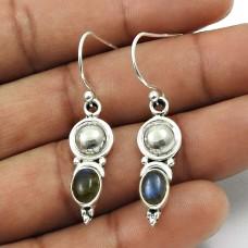 Natural LABRADORITE Gemstone Earring 925 Sterling Silver HANDMADE Jewelry AU17