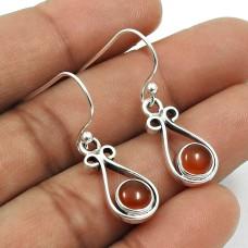 Natural CARNELIAN Gemstone HANDMADE Jewelry 925 Sterling Silver Earring AU21