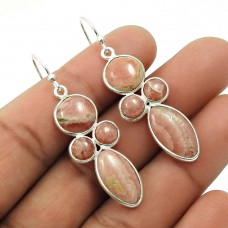 HANDMADE 925 Sterling Silver Jewelry Natural RHODOCHROSITE Gemstone Earring AU12