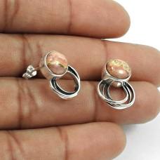 Natural RHODOCHROSITE Gemstone HANDMADE Jewelry 925 Sterling Silver Earring AM13