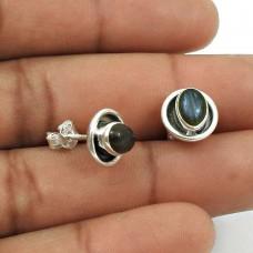 HANDMADE 925 Silver Jewelry Natural LABRADORITE Gemstone Stud Earring AQ18