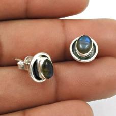 Natural LABRADORITE Gemstone Stud Earring 925 Silver HANDMADE Fine Jewelry AS15
