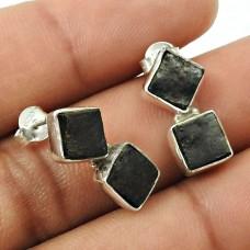Rock Lava Gemstone Earring 925 Sterling Silver Vintage Jewelry C4