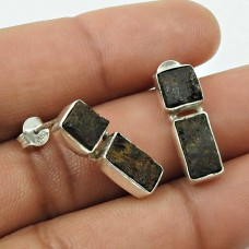 Rock Lava Gemstone Earring 925 Sterling Silver Traditional Jewelry D4