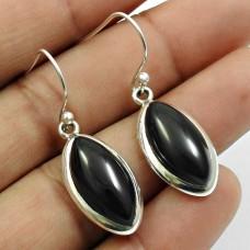 Black Onyx Gemstone Earring 925 Sterling Silver Handmade Jewelry I4