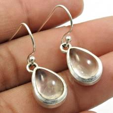 Rose Quartz Gemstone Earring 925 Sterling Silver Indian Handmade Jewelry K4