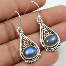 Labradorite Gemstone Artisan Earring 925 Sterling Silver Stylish Jewelry A5