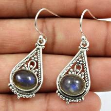 Labradorite Gemstone Artisan Earring 925 Sterling Silver Tribal Jewelry L5