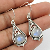 Rainbow Moonstone Gemstone Artisan Earring 925 Sterling Silver Handmade Indian Jewelry P5