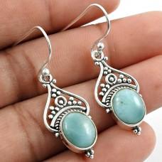 Larimar Gemstone Earring 925 Sterling Silver Vintage Look Jewelry T5