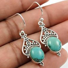 Turquoise Gemstone Earring 925 Sterling Silver Handmade Jewelry W5