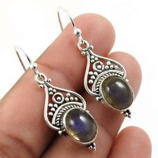 Labradorite Gemstone Earring 925 Sterling Silver Stylish Jewelry O6