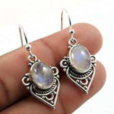Rainbow Moonstone Gemstone Earring 925 Sterling Silver Ethnic Jewelry W6