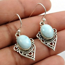 Larimar Gemstone Earring 925 Sterling Silver Traditional Jewelry F7