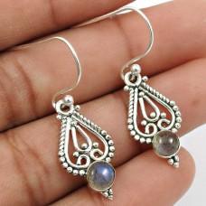 Labradorite Gemstone Earring 925 Sterling Silver Indian Handmade Jewelry S6