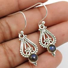 Labradorite Gemstone Earring 925 Sterling Silver Handmade Indian Jewelry T6