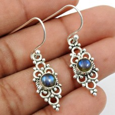 Labradorite Gemstone Earring 925 Sterling Silver Vintage Look Jewelry R7
