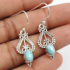 Larimar Gemstone Earring 925 Sterling Silver Ethnic Jewelry U8