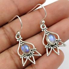 Rainbow Moonstone Gemstone Earring 925 Sterling Silver Stylish Jewelry A10