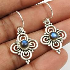 Labradorite Gemstone Earring 925 Sterling Silver Handmade Jewelry W10
