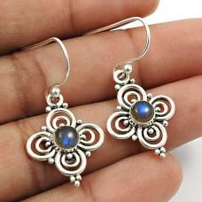 Labradorite Gemstone Earring 925 Sterling Silver Indian Handmade Jewelry Y10