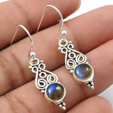 Labradorite Gemstone Earring 925 Sterling Silver Tribal Jewelry Z11
