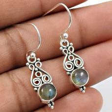 Labradorite Gemstone Earring 925 Sterling Silver Indian Handmade Jewelry C12