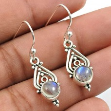 Rainbow Moonstone Gemstone Earring 925 Sterling Silver Traditional Jewelry Z12