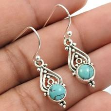 Turquoise Gemstone Earring 925 Sterling Silver Vintage Look Jewelry B13