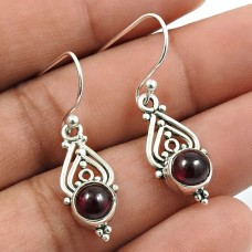 Garnet Gemstone Earring 925 Sterling Silver Indian Jewelry F13