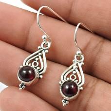 Garnet Gemstone Earring 925 Sterling Silver Indian Handmade Jewelry G13