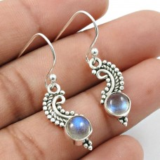 Labradorite Gemstone Earring 925 Sterling Silver Indian Handmade Jewelry A14