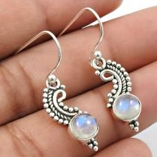 Rainbow Moonstone Gemstone Earring 925 Sterling Silver Vintage Jewelry C14